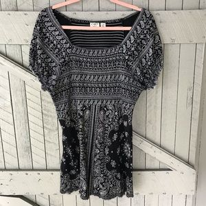 Cato Black and White Paisley Print Top